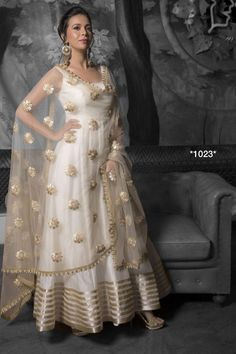 White tapeta silk anarkali gown for ceremony - Fabric :Tapeta silk anarkali gown ( semi stich )Sleeves fabric given insideNet duppata with sequence workWhite tapeta silk anarkali gown for ceremony - Fabric :Tapeta silk anarkali gown ( semi stich )Sleeves Anarkali Gown, Anarkali Dress, White Anarkali, Indian Anarkali, Silk Anarkali Suits, Indian Gowns Dresses, Pakistani Dresses, Shadi Dresses, Girls Dresses