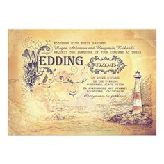 "Old vintage lighthouse nautical wedding invites 5"" x 7"" invitation card"