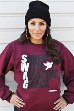 "SWAG= Saved With Amazing Grace Crew Christian Sweatshirt is Based on Ephesians 2:8 ""For it is by grace you have been saved, through faith--and this not from yourselves, it is the gift of God"""