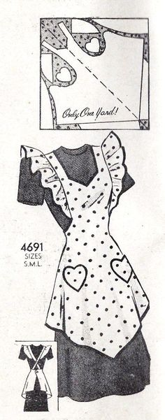 1940s Misses Full Apron with Heart Pockets by MissBettysAttic. Made with one yard of #T Shirt Mens