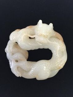 A Fine Chinese White Jade Carved Dragon