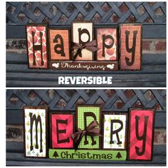 Reversible Blocks--give Thanks Reverses With Jingle Bells Wood Blocks