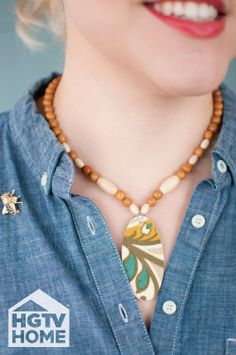 Made + Remade's @Hannah Mestel Mestel B. made a simple beaded necklace with decoupaged HGTV HOME Fabric–perfect as a handmade gift. #12DaysOfHGTVHOME