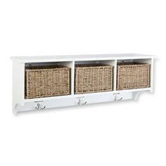Threshold Entryway Organizer Shelf with Seagrass Baskets, Hooks and Nameplates - White Wall Shelf With Hooks, Wall Organization, Seagrass Basket, Shelves, Entryway Organizer Shelf, Entryway Organization, Blue Bathroom Decor, Entry Wall, Baskets On Wall