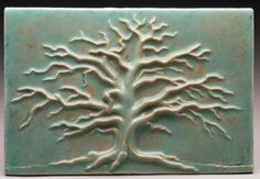 Carved Winter Oak Tree  Speckled Moss by PrairieMileTile on Etsy, $148.00