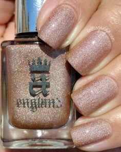 KellieGonzo: Color4Nails Presents Cupcake Polish & A England Duos Swatches & Review / A England Sparks Divine is an antique gold-tan scattered holographic