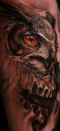 Owl skull tattoos | ... tattoos black and gray tattoos skull tattoos custom tattoos animal