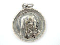Vintage Mater Dolorosa Catholic Medal - Crying Mary Ornate Religious Charm by LuxMeaChristus