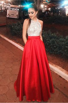 Beautiful Halter Beading Long A-Line Red Open Back Prom Dresses With Pockets VTOPLZYB91S