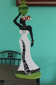 Africana African Theme, African Girl, African Image, Canvas Art Projects, African Art Paintings, Wine Bottle Art, Art Africain, Africa Art, Black Artwork