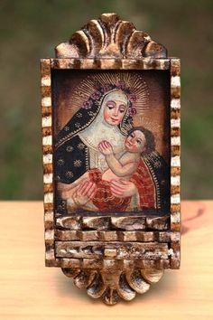 St Rose of Lima Colonial Art Santos Retablo Ex voto Original Oil Painting