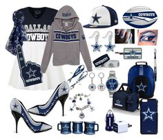 """What I Would Wear and Bring To Cowboys Games"" by xxsilentsilverxx ❤ liked on Polyvore featuring WinCraft, aminco, New Era, Mizco, The Bradford Exchange, Game Time, Forever Collectibles, Boelter, Pandora and Picnic Time"