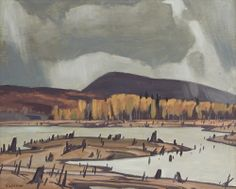 """""""Bark Lake,"""" Alfred Joseph Casson, oil on board, 12 x private collection. Canadian Artists, American Artists, Emily Carr Paintings, Group Of Seven Paintings, Tom Thomson Paintings, Ontario, Living In San Francisco, Canada Images, Spanish Painters"""