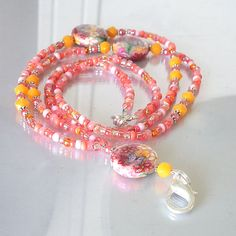 Perfect colors for summer - Beaded Lanyard Pink Orange Polymer Clay by Plumbeadacious on Etsy, $27.00