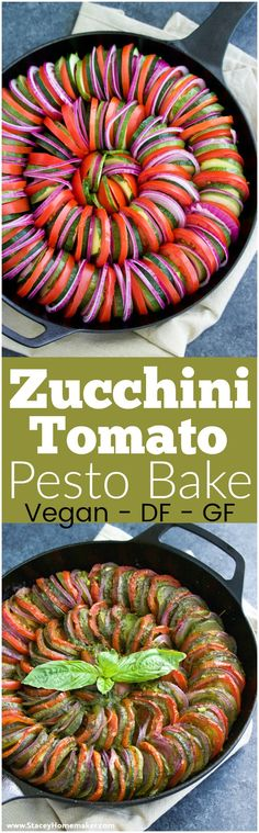 Zucchini tomato pesto bake (similar to ratatouille) is so delicious and easy to make! It's easy to be fancy with this healthy side dish recipe! Vegan.