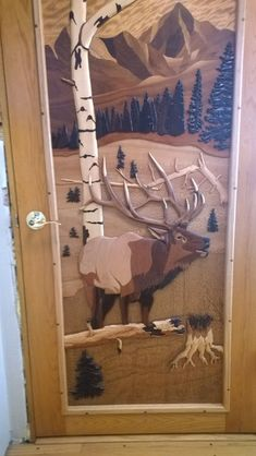 I want Something like the inside the front door of my Art Studio. It is an intarsia of an elk, trees, mountains. Made from numerous types of wood and veneer. Wood Projects, Woodworking Projects, Teds Woodworking, Intarsia Wood Patterns, Cabin Doors, Wooden Words, Wood Mosaic, Intarsia Woodworking, Unique Doors