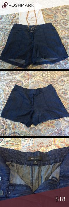 ⚡️ONLY WORN ONCE⚡️Ann Taylor Chambray Shorts Just like new these elastic waist chambray shorts look good dressed up or down. Super lightweight and breathable, they are extremely comfortable and perfect for a hot day. Elastic waist is 17 inches and inseam is 4.5 inches. Ann Taylor Shorts Jean Shorts