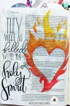 Beautiful representation of the power of the Holy Spirit. Bible journaling marries creativity with interacting in the Word.