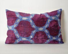 Pillow lumbar 16x24 ikat velvet pillow cover throw pillows purple blue boho eclectic home decor hand dyed handwoven pillow cases