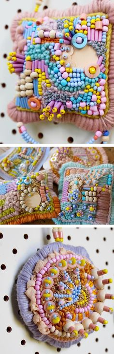 """Say """"hello"""" to Hello Trinkets. The brainchild of the Hello Tangle sisters, these small hangings take a sculptural approach to embroidered beading. Couture Embroidery, Beaded Embroidery, Hand Embroidery, Contemporary Embroidery, Arts And Crafts, Diy Crafts, Color Crafts, Brick Stitch, Art Activities"""
