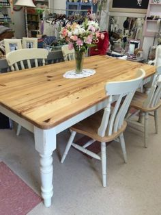 Shabby chic~ farm house table & four chairs~very heavy top quality | Devon | Gumtree