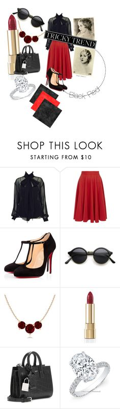 """""""High neck blouse"""" by wee-charlie ❤ liked on Polyvore featuring moda, Karl Lagerfeld, Closet, Christian Louboutin, Dolce&Gabbana, Yves Saint Laurent, women's clothing, women's fashion, women y female"""