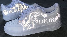 Ironed on Dior Dino. Dior Sneakers, Dior Shoes, Sneakers Fashion, Nike Air Force, Air Force Shoes, Custom Sneakers, Custom Shoes, Customised Shoes, Custom Air Force 1