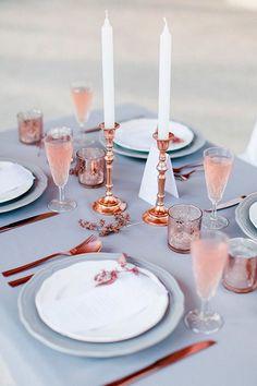 subtle and sophisticated wedding inspiration - Pantone Colors 2016 rose quartz + serenity blue + bronze Pantone 2016, Pantone Color, Azul Pantone, 2016 Wedding Trends, 2016 Trends, Table Rose, Table Flowers, Rose Quartz Serenity, Copper Wedding