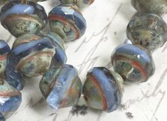 8 x 10mm Saturn blue Sapphire Picasso Beads Glass Rondelles Czech glass Beads 10 pieces BOHO Supplies