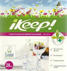 """Таблетки для посудо-моечной машины iKEEP. Слева - европейский """"Экознак"""" (или """"Европейский цветок""""). (The European Ecolabel). Знак обозначает, что товар экологичен на всех этапах жизненного цикла (добыча сырья, производство, упаковка, доставка, использование, утилизация)."""