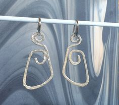 Items similar to Sterling Silver Textured Hammered Dangle Earrings Large Wire Handmade Free-form. on Etsy Dangle Earrings, Dangles, Charmed, Trending Outfits, Texture, Jewellery, Unique Jewelry, Sterling Silver, Handmade Gifts