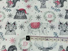 Wolves Animals Christmas Fabric, Cotton Fabric, Holiday Fabric, Scandi Fabric Christmas Fabric, Wolves, Fabric Crafts, Cotton Fabric, Xmas, Crafty, Holiday, Projects, Wolf