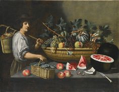 Pseudo Pietro Paolo Bonzi  ACTIVE IN ROME IN THE 1ST DECADE OF THE SEVENTEENTH CENTURY  A STILL LIFE OF GRAPES, MELONS AND POMEGRANATES ON A STONE LEDGE .jpg (2000×1548)