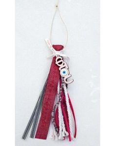 Γούρι Red Burlap & Striped Ribbon Burlap, Ribbon, Drop Earrings, Red, Jewelry, Tape, Jewlery, Hessian Fabric, Jewerly