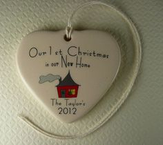 PERSONALIZED  New Home 2012 Porcelain Heart by aphroditescanvas