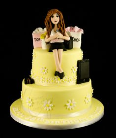 2 tier 18th birthday cake for a singer who loves shopping
