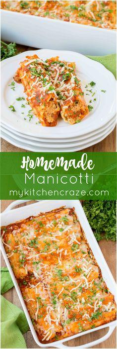 Homemade Manicotti ~ mykitchencraze.com ~ Enjoy this delicious homemade…