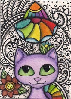 ACEO-Purple-Cat-Rainbow-Colors-Doodle-Design-Original-Art --- Winning bid: US $10.76 Approximately AU $13.42