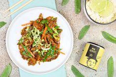 GeWOKtes Sesam Ingwer Hähnchen mit Reis