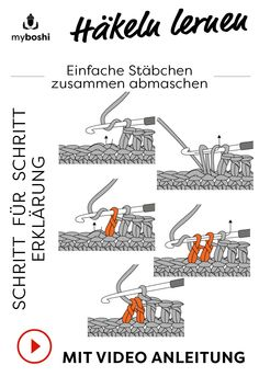 Häkeln lernen – Stäbchen Zusammen abmaschen With the myboshi online lexicon you learn crocheting quickly and easily. All important stitches and basic terms for crocheting … Easy Knitting, Knitting For Beginners, Knitting Patterns, Crochet Patterns, Learn To Crochet, Learn To Sew, Crochet Double, World Literature, Sewing School