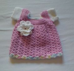 Crocheted baby dress, pattern. by Julie xoxo #Infant #Dress #crochet #flower…