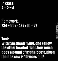 Class vs. homework vs. the test.