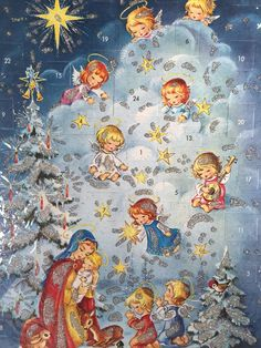 Kruger Xmas Nativity Angels Glitter Advent Calendar Card Western Germany VTG IOP #Germany