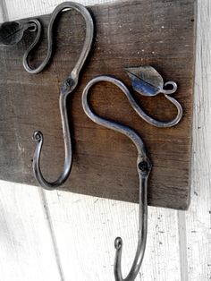 Blacksmith Hand Forged Vine and Leaf Decorative Coat Hooks, Wall Hooks- Rustic- Wrought Iron- Unique
