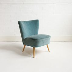 1950s teal velvet cocktail chair