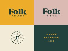 wellness branding Folk Wellness by Dustin Haver Self Branding, Logo Branding, Corporate Branding, Lettering, Typography Logo, Typography Design, S Tattoo, Inspiration Logo Design, Design Visual
