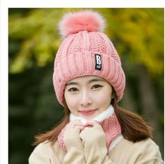 Fashion Girl 'S Skullies Beanies Winter Hats For Women Knitting Cap Hat Pompoms Ball Warm Brand Casual Gorros Thick Female Cap Winter Knit Hats, Winter Hats For Women, Velvet Hat, Pink Hat, Scarf Hat, Neck Warmer, Knitted Hats, Hat Crochet, Beanies