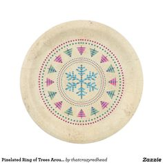 Pixelated Ring of Trees Around Blue Snowflake Paper Plate  sc 1 st  Pinterest & Retro Starburst Snowflake Paper Plate