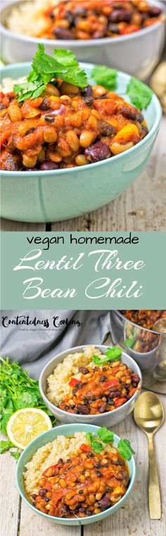 My #Lentil #ThreeBean #Chili is the best #Vegan Chili you've ever made. With just 6 #glutenfree ingredients this #homemade chili is full of kidney beans, black beans, and pinto beans. #lunch #dinner
