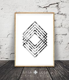 Modern Minimal Wall Art Black and White Print by lilandlola